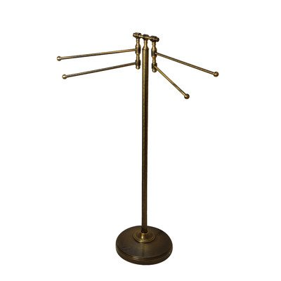 - Universal Floor Towel Stand Finish: Antique Brass