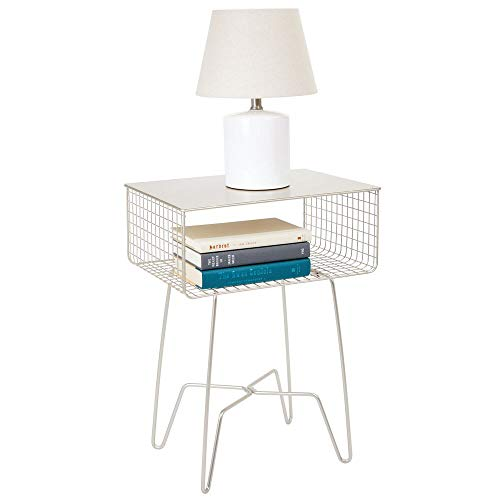 (mDesign Modern Farmhouse Side/End Table - Solid Metal Design - Open Storage Shelf Basket, Hairpin Legs - Sturdy Vintage, Rustic, Industrial Home Decor Accent Furniture for Living Room, Bedroom - Satin)