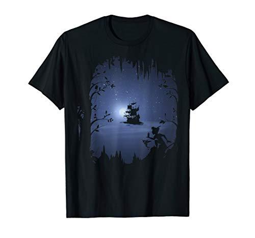 Disney Peter Pan Moonlit Pirate Ship Silhouette T-Shirt