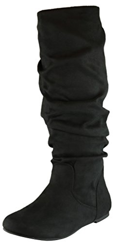 Cambridge Select Women's Slouchy Round Toe Knee High Flat Boot