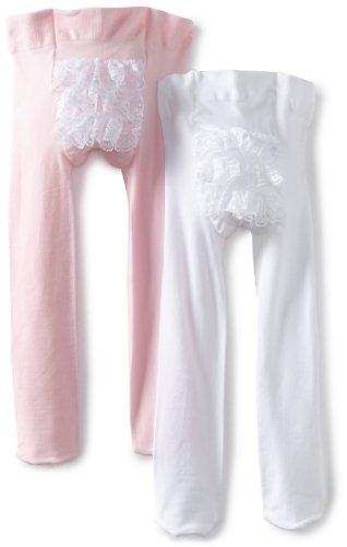 - Country Kids Baby Girls' Microfiber Ruffle Rhumba Tights 2 Pair Pack, White/Pink, 12-24 Months