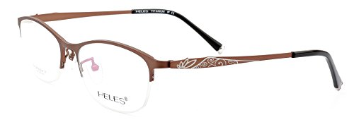 b479d1bf2eb12 Heles Retro Pure Tianium Half Rim Glasses Optical Frame