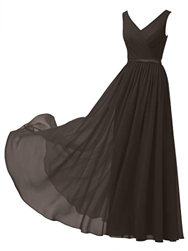 (Alicepub V-Neck Chiffon Bridesmaid Dress Long Party Prom Evening Dress Sleeveless, Espresso Brown,)
