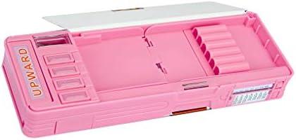 Estuche escolar para niños con sacapuntas retráctil automático, con doble piso, color rosa: Amazon.es: Oficina y papelería