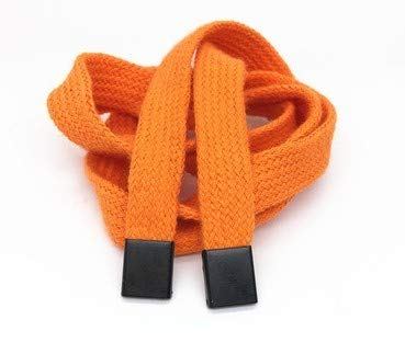 FINCOS 3pcs/lot1.4mX1.2cm Cotton Flat Pulling Rope tie Rope for Hoodie Cap Sport trousrs Waist Rope Handmade Sewing DIY accessories1986 - (Color: 14 Orange Black end) by FINCOS