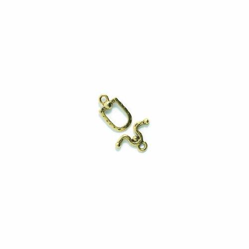 Shipwreck Beads Pewter Horseshoe and Stirrup Toggle Clasp, Metallic, Antique Gold, 18mm, Set of -