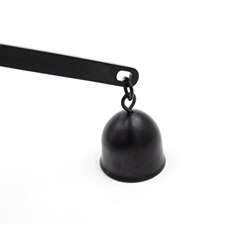 Wellite Stainless Steel Candle Snuffer Bell Shaped with Long Handle Put Out Wick Fire,Black