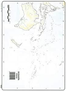 Mapa Mudo Oceanía Físico A4 (10 ud.): Amazon.es: Oficina y papelería