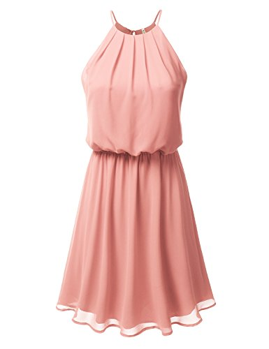 DRESSIS Womens Double Layered Chiffon Mini Tank Dress Peach 2XL -