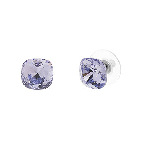 Devin Rose Cushion Solitaire Stud Earrings for Women in Stainless Steel made with Swarovski Crystal (Light Violet Color)