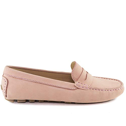 USA Loafer Style Driving Women's Nubuck Club Naples in Made Leather Driver Brazil Blush waqCv5