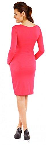 Zeta Ville Mujeres Maternidad Casual Lactancia Materna Jersey Lápiz Vestido 285c Fucsia