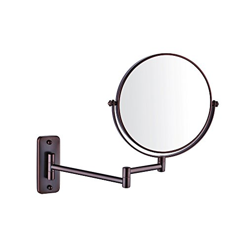 Adjustable Nickel Matt (Kes Bathroom 10x Magnification Two-Sided Swivel Wall Mount Mirror 8-Inch, Oil Rubbed Bronze Finish, BWM100M10-7)