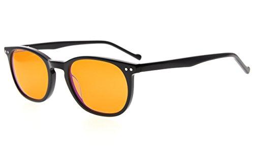 Eyekepper Computer Glasses-Acetate Frame-Better Sleep Eyeglasses For Small Face Men Women Teenager (Black, - Eyeglass For Long Face