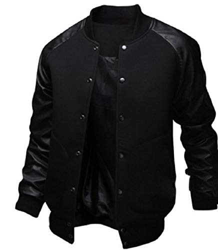 XINHEO Men's Stand Collar Stitching Button Up Luxury Pocketed Bomber Jacket Black