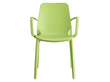 Scab ginevra sedia con braccioli in tecnopolimero colore: verde