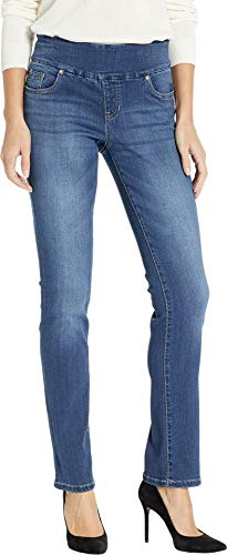 Jag Jeans Women's Penny Straight Pull-On Jeans in Dark Wash Dark Wash 12 33