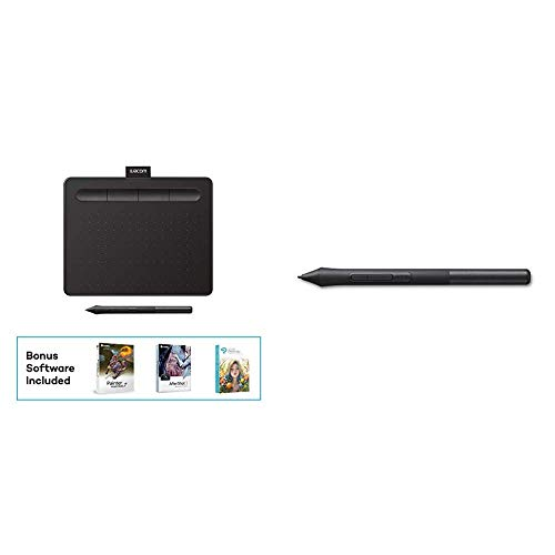 """Wacom CTL4100 Intuos Graphics Drawing Tablet with 3 Bonus Software Included, 7.9""""x 6.3"""", Black Bundle with Wacom LP1100K 4K Pen for Intuos Tablet"""