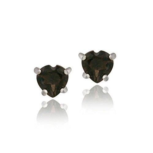 Sterling Silver .80Ct Smokey Quartz Heart Stud Earrings, 5MM - Heart Smokey Quartz Earring