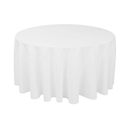 """TRLYC 72"""" White Polyester Tablecloth Wedding Table Cover Ove"""
