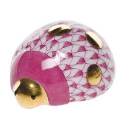 - Herend Figurine Lucky Ladybug Raspberry Fishnet