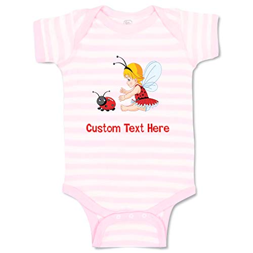 Custom Personalized Boy & Girl Baby Bodysuit Little Girl with Wings and Ladybird Funny Cotton Baby Clothes Stripes Soft Pink White Personalized Text Here 6 Months