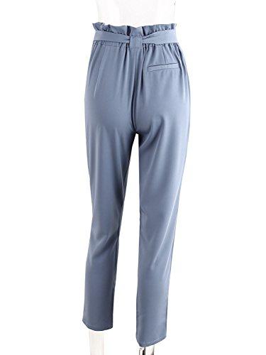 Simplee Apparel Women 's Casual regular fit lápiz pantalones de cintura alta cintura de cordon pantalones de harén Azul