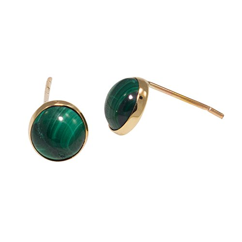 Malachite Stone Jewelry Earrings Solid 14K Yellow Gold Studs Fine Jewelry 14k Malachite Stud