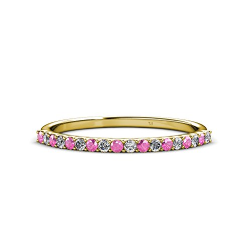 TriJewels Pink Sapphire and Diamond 1.5mm 18 Stone Wedding Band 0.28 Carat tw in 14K Yellow Gold.size 6.5 ()