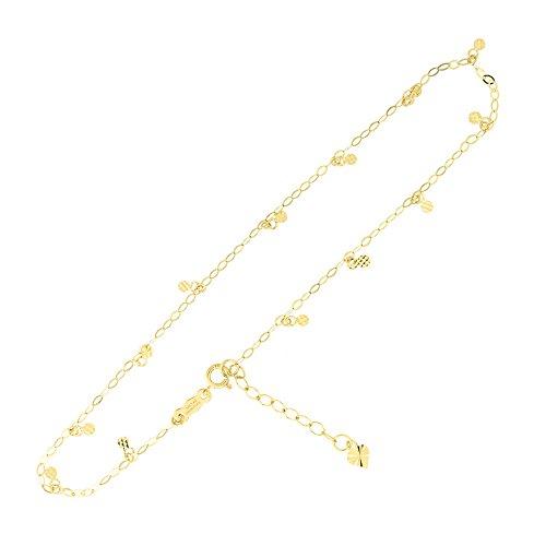 Charm Bracelet 14k Oval (14k Yellow Gold Oval Chain Diamond Cut Circle Dot Dangle Charm Anklet Adjustable, 9