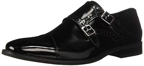 STACY ADAMS Men's Tayton Cap Toe Double Monk Strap Loafer, Black, 14 M US
