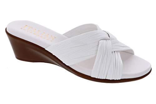 ITALIAN Shoemakers Womens Saylor Wedge Sandal (9.5 M US, White)
