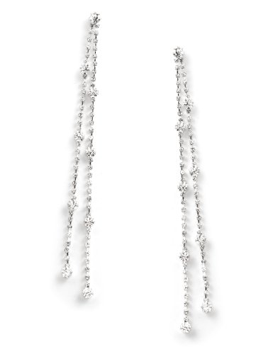 Dangle Crystal Strands (Silver Crystal Rhinestone Long 2 Strands Rows with Rhinestone Ends Dangle)