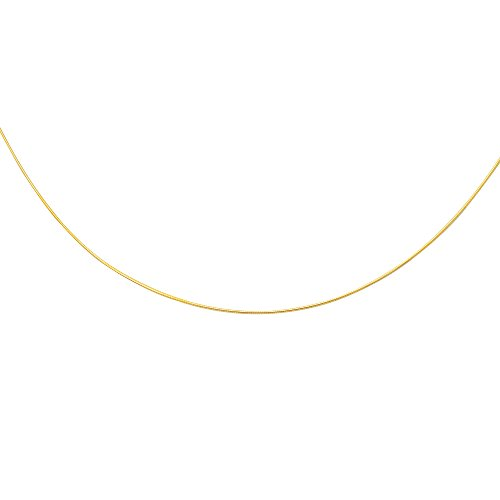 14K Yellow Solid Gold Round Omega 1mm Chain 18