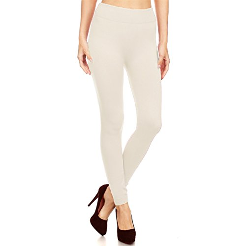 Alta Womens Seamless Body Shaper High Waisted Premium Stretch Leggings - Ivory L/XL ()