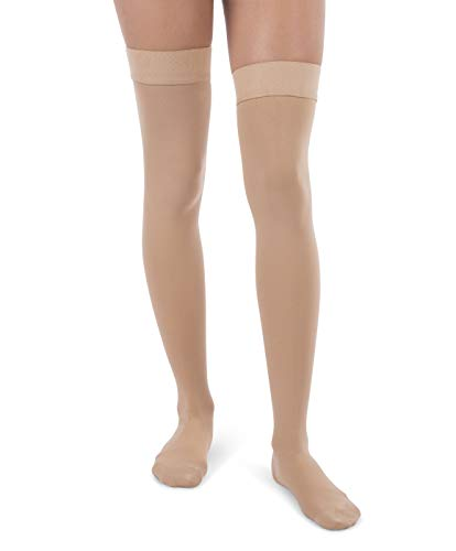 Jomi Compression, Unisex, Thigh High Stockings Collection, 30-40mmHg Surgical Weight Closed Toe 340 (X-Large, Beige)