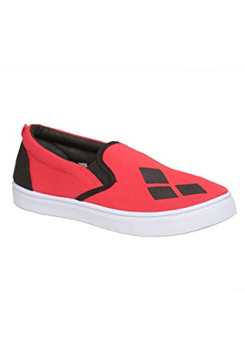 Harley Quinn Shoes (DC Comics Women's Ladies Harley Quinn Slip on Sneaker, Red, L M US)