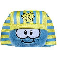 Disney Club Penguin 4 Inch Series 10 Plush Puffle Blue with Pharaoh Headress Includes Coin with Code! by Jakks (Puffle Series)