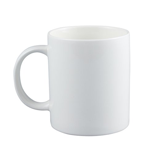 Neolith 12 oz Cup Plain Gloss Pure White Ceramic Coffee Mug for Milk (Plain Coffee Mug)