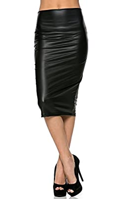 High Waisted Faux Leather Pencil Skirt in Black (Plus