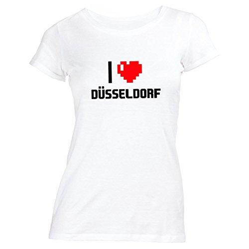 Monkiez Damen T-Shirt - I Love Düsseldorf - Deutschland Reisen Herz Heart Pixel Weiß BlJbXqnfIX