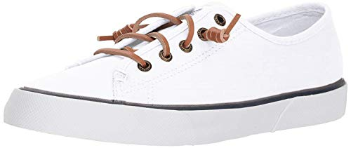 Sperry Womens Pier View Sneaker, White, 8.5 (Best Way To Clean Sperry Boat Shoes)