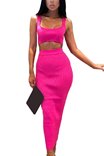 Velius Women's Scoop Neck Neon Bodycon Two Piece Pencil Maxi Dress Clubwear Outfits (Rose, Large)