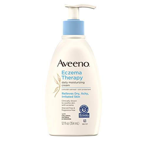 Aveeno Eczema Therapy Daily Moisturizing Cream for Sensitive Skin, Soothing Lotion with Colloidal Oatmeal for Dry, Itchy, and Irritated Skin, Steroid-Free and Fragrance-Free, 12 fl. oz