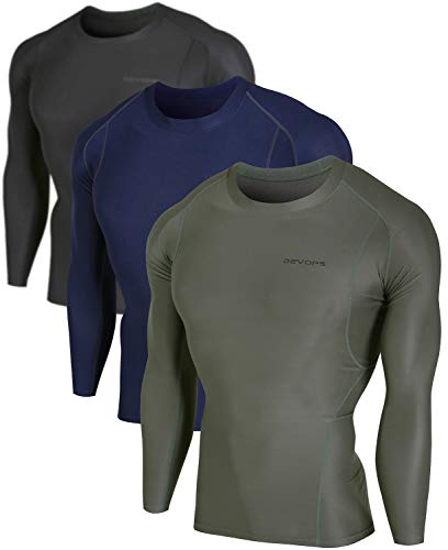 DEVOPS Men's 3 Pack Cool Dry Athletic Compression Long Sleeve