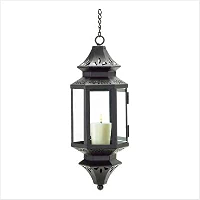 Gifts & Decor Hanging Moroccan Lantern Glass Outdoor Candleholder