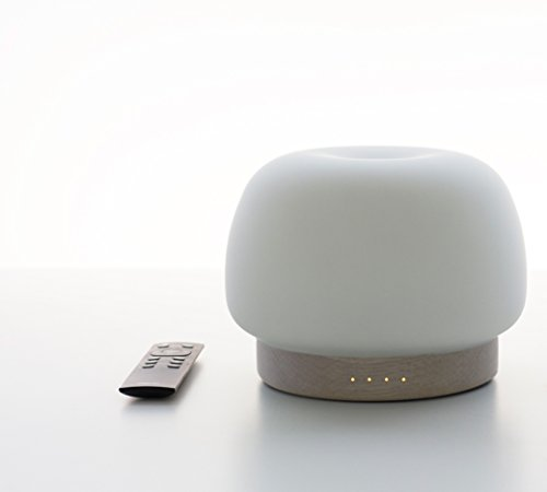 Zoe Aroma Essential Oil Diffuser, Remote control Scent and Fragrance Aromatherapy 500ML Humidifier - Now with Handmade soft glass, FSC Certified Oak Wood, Italian modern Design, Timer, LED Light, Long by Pilgrim Collection