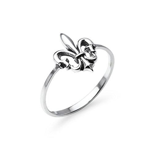 Sterling Silver Fancy Fleur-de-lis Medieval Design Comfort Fit Band Ring | Size -