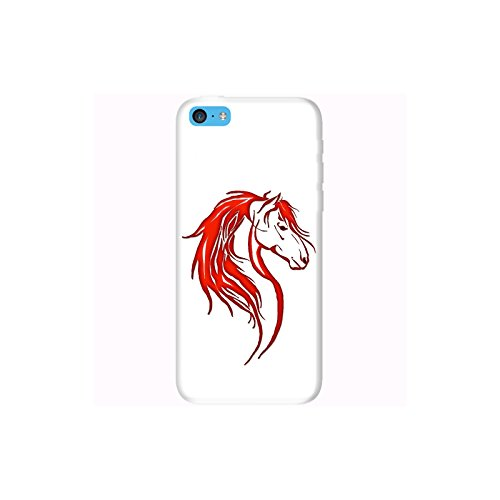 Coque Apple Iphone 5c - Tête cheval tribal Rouge