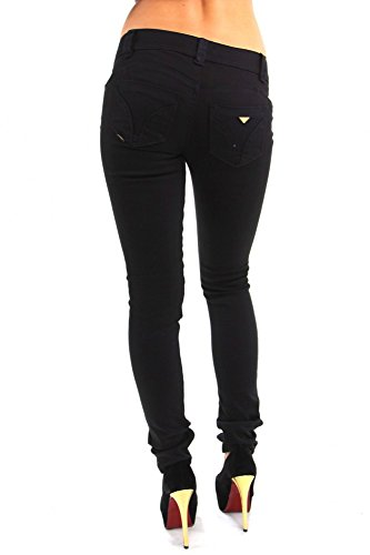 Soft skinny Jeans mit bunten Strasssteinen Schwarz Strass Steine